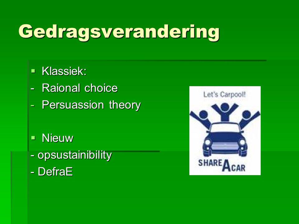 Gedragsverandering Klassiek: - Raional choice Persuassion theory Nieuw
