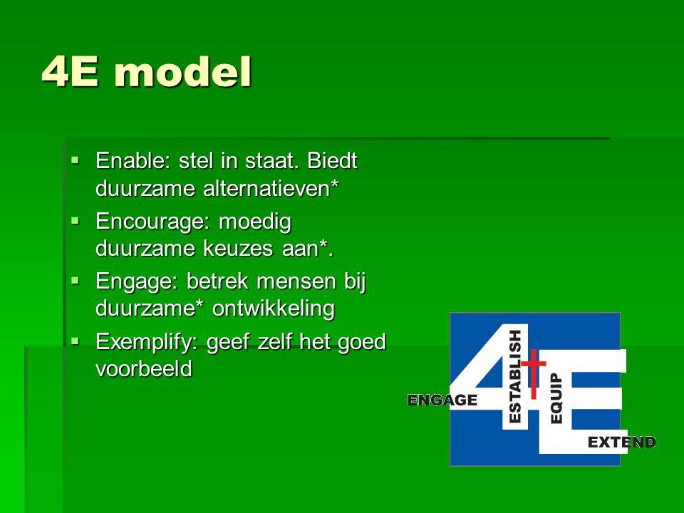 4E model Enable: stel in staat. Biedt duurzame alternatieven*