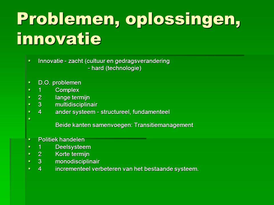 Problemen, oplossingen, innovatie