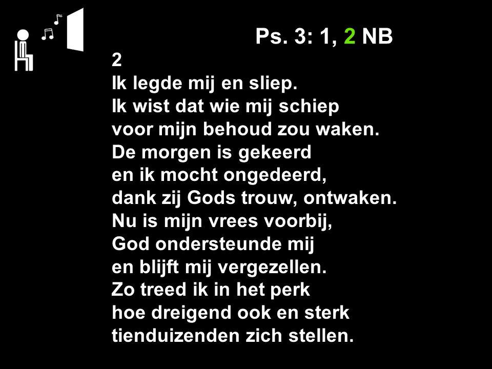 Ps. 3: 1, 2 NB 2 Ik legde mij en sliep. Ik wist dat wie mij schiep