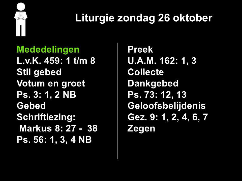 Liturgie zondag 26 oktober