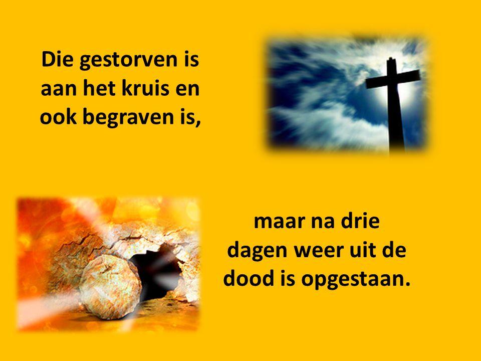 Die gestorven is aan het kruis en ook begraven is,