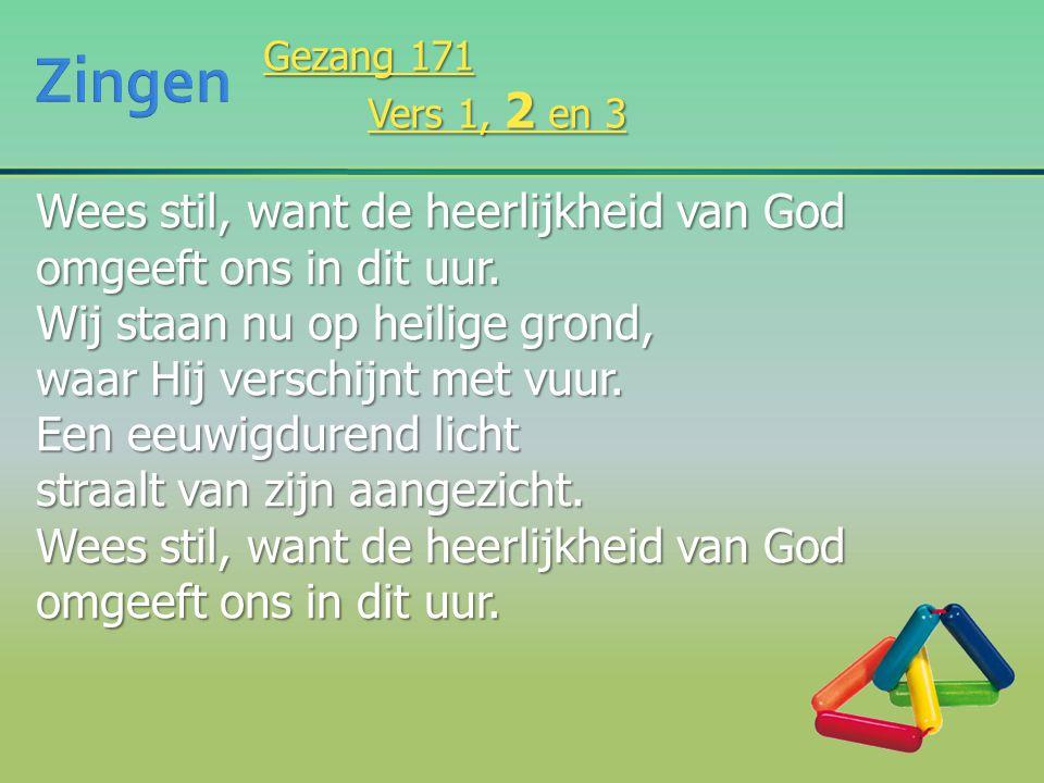 Zingen Wees stil, want de heerlijkheid van God omgeeft ons in dit uur.