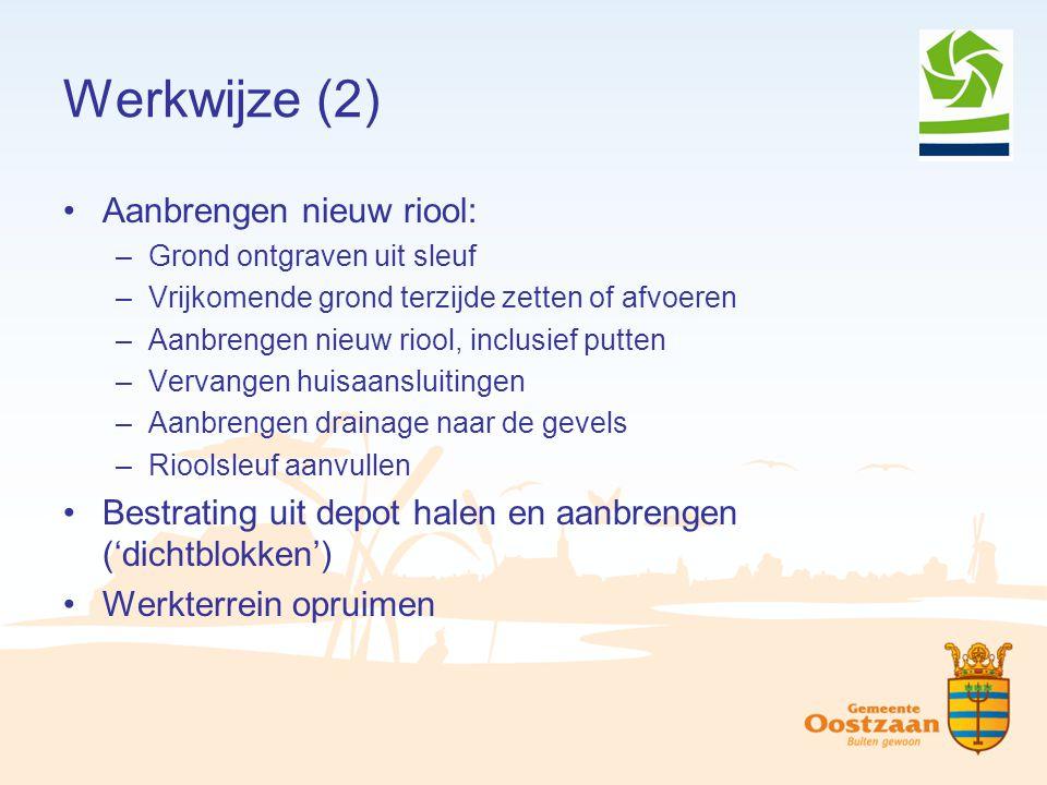 Werkwijze (2) Aanbrengen nieuw riool: