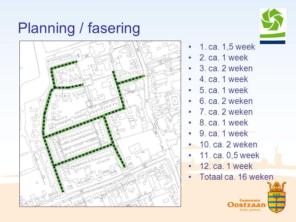Planning / fasering 1. ca. 1,5 week 2. ca. 1 week 3. ca. 2 weken