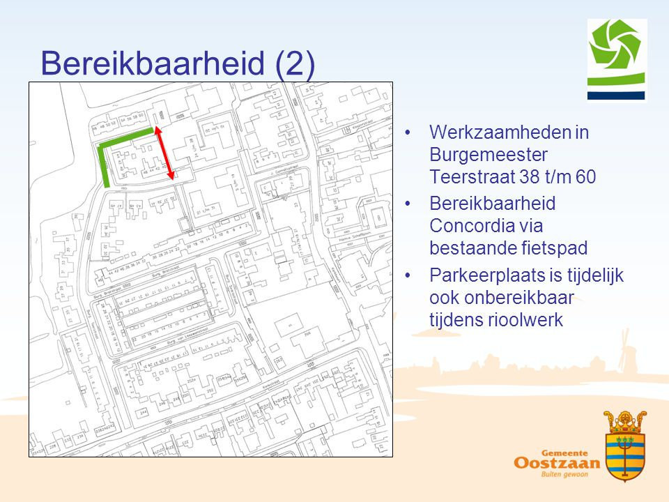 Bereikbaarheid (2) Werkzaamheden in Burgemeester Teerstraat 38 t/m 60