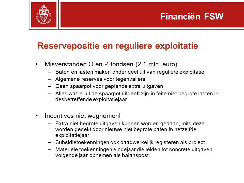 Reservepositie en reguliere exploitatie