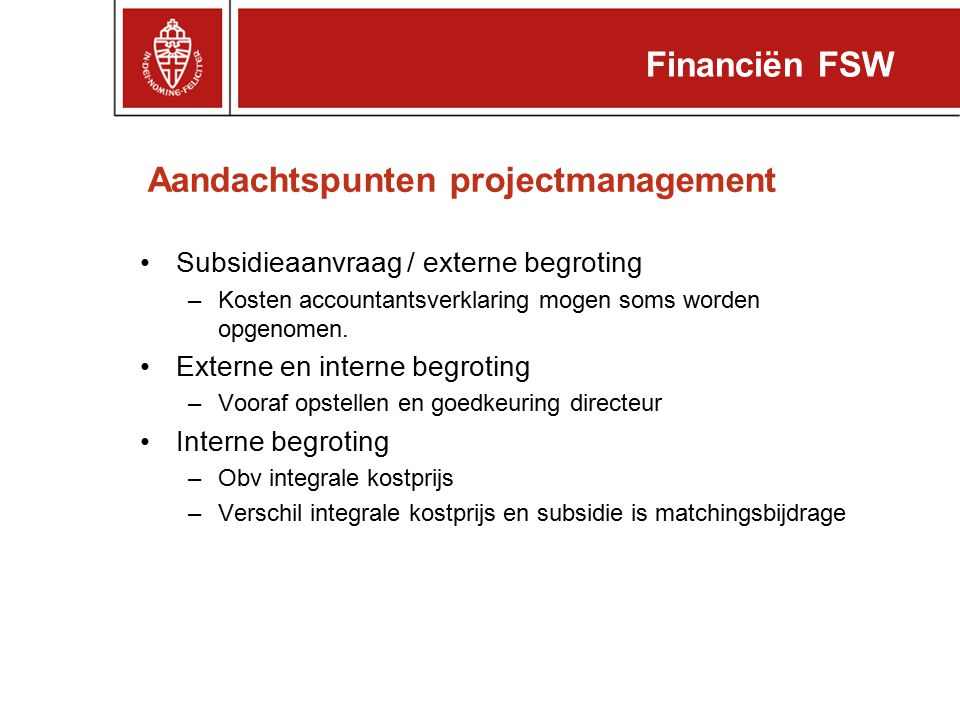 Aandachtspunten projectmanagement