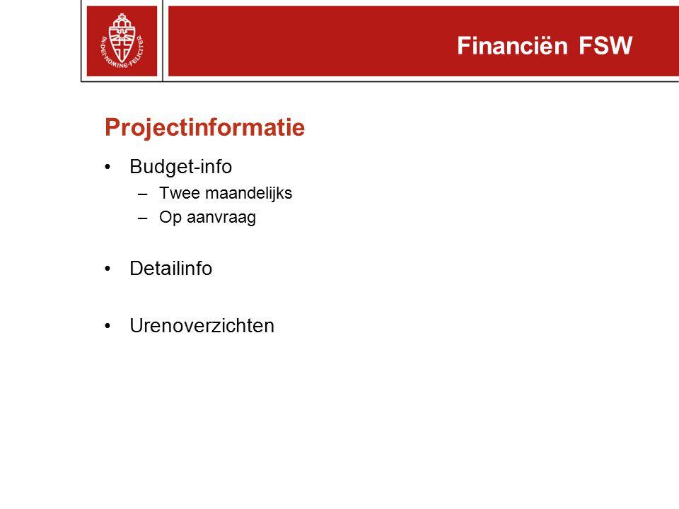 Financiën FSW Projectinformatie Budget-info Detailinfo Urenoverzichten