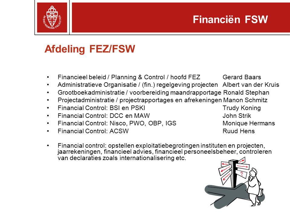 Financiën FSW Afdeling FEZ/FSW