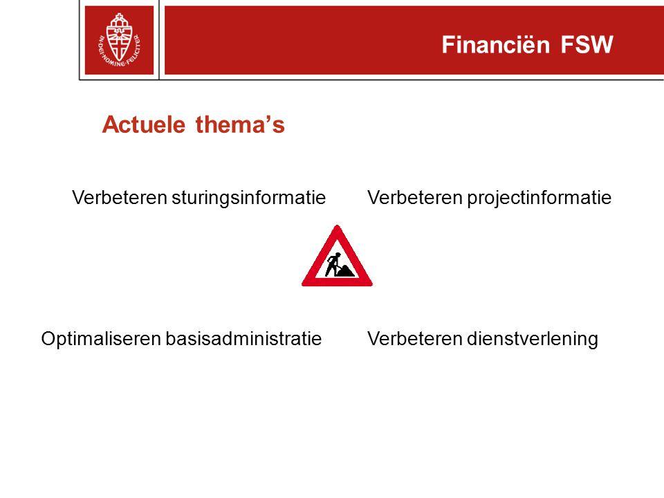 Financiën FSW Actuele thema's Verbeteren sturingsinformatie