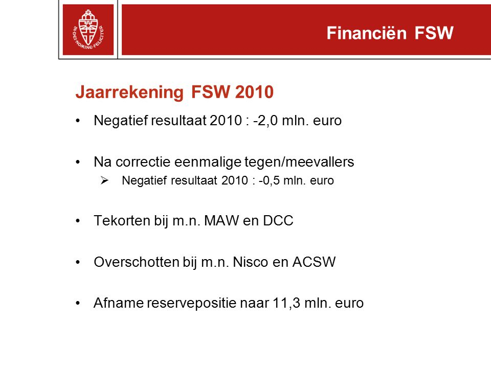 Financiën FSW Jaarrekening FSW 2010