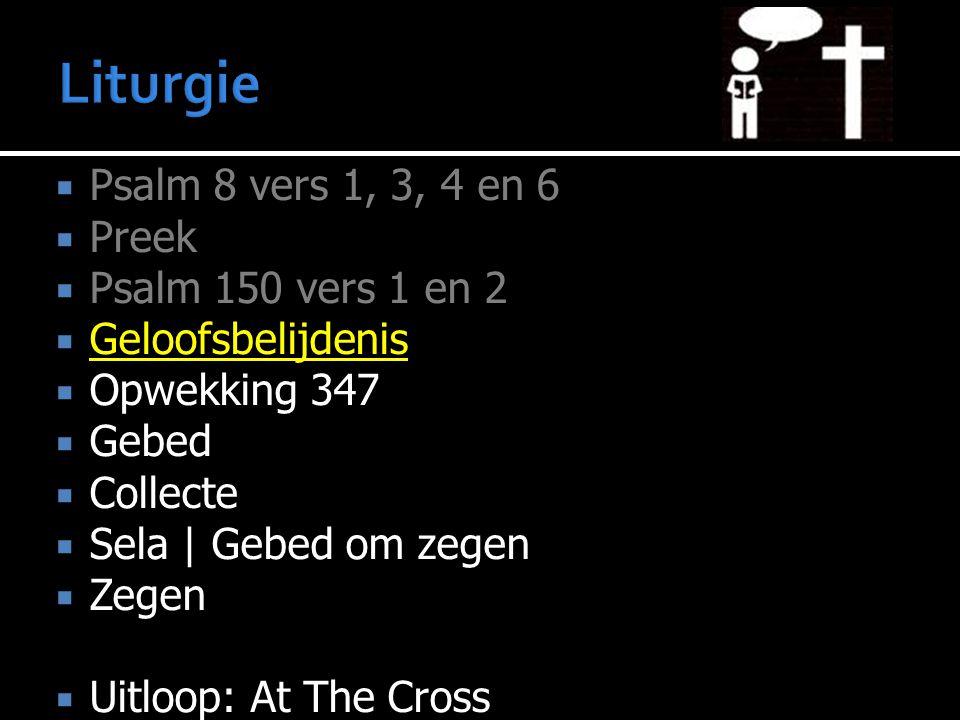 Liturgie Psalm 8 vers 1, 3, 4 en 6 Preek Psalm 150 vers 1 en 2