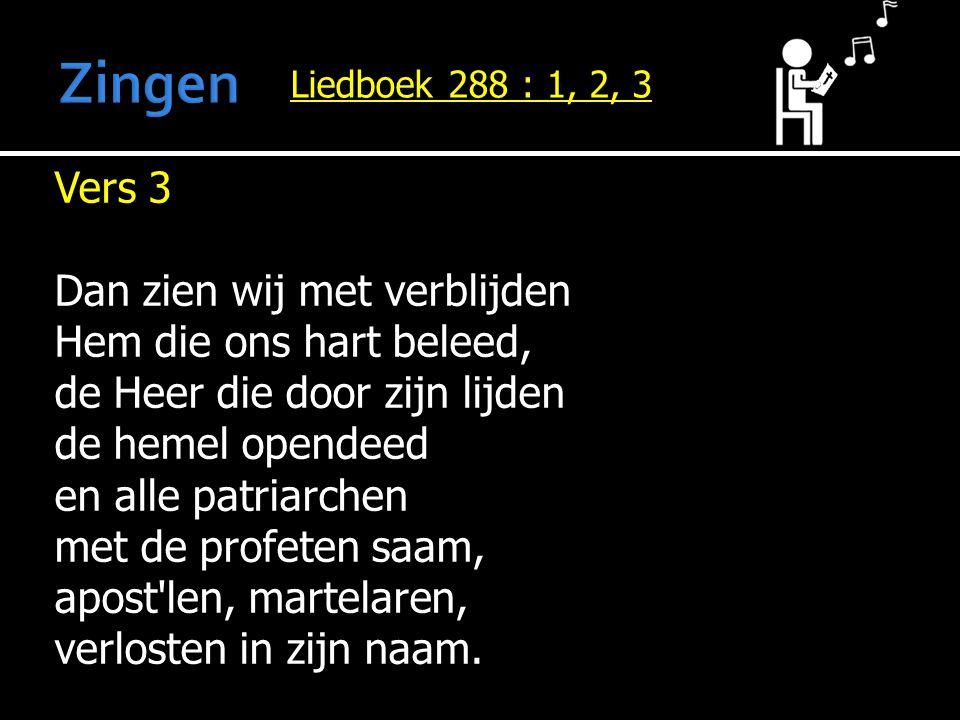 Zingen Vers 3 Dan zien wij met verblijden Hem die ons hart beleed,