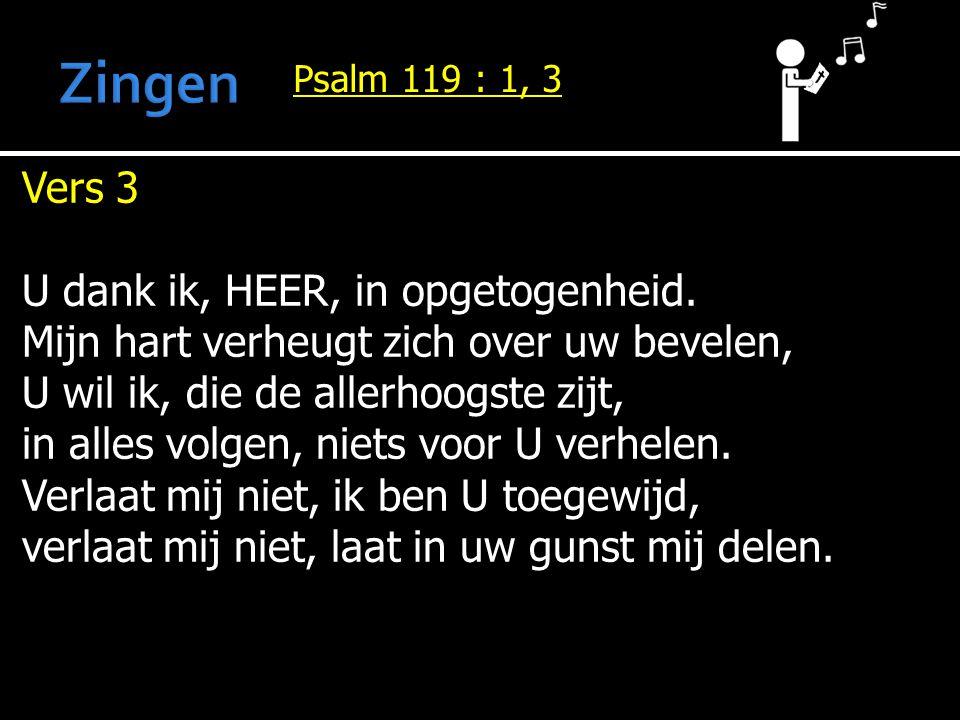 Zingen Vers 3 U dank ik, HEER, in opgetogenheid.