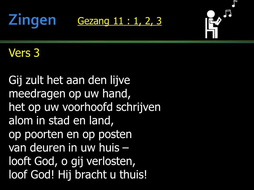 Zingen Vers 3 Gij zult het aan den lijve meedragen op uw hand,