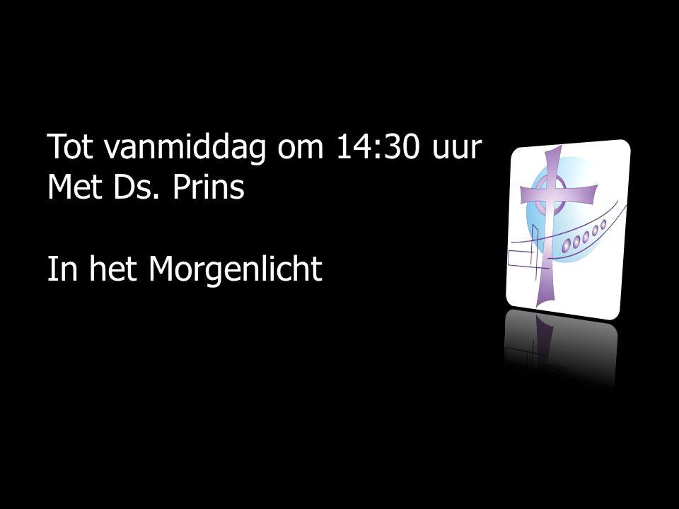 Tot vanmiddag om 14:30 uur Met Ds. Prins In het Morgenlicht