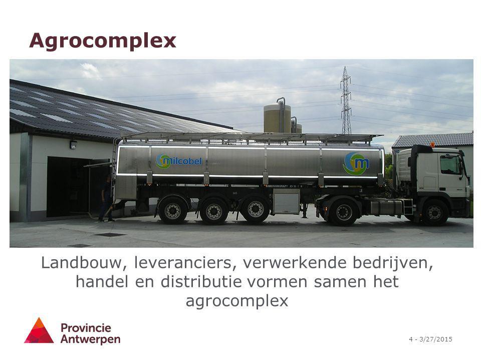 Agrocomplex Landbouw, leveranciers, verwerkende bedrijven, handel en distributie vormen samen het agrocomplex.