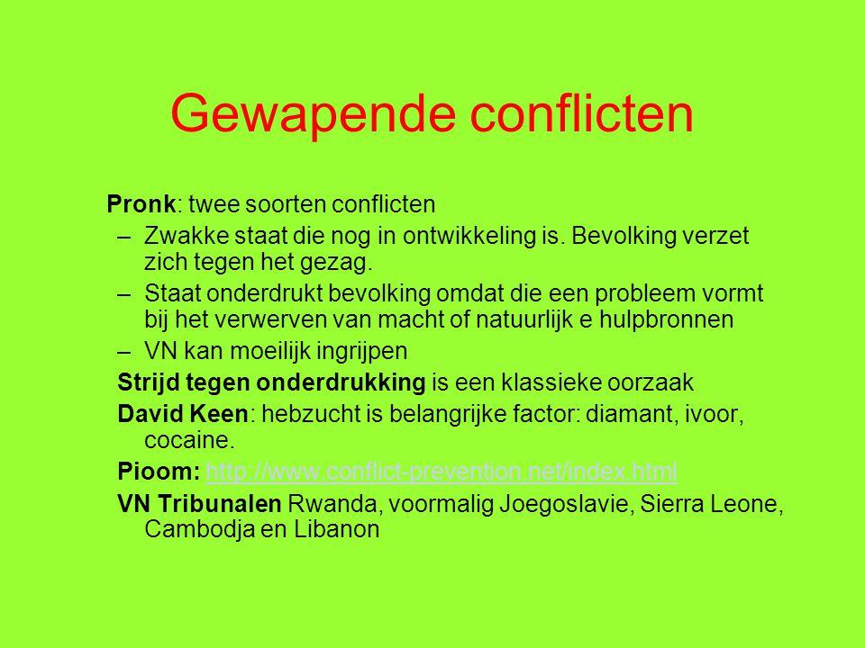 Gewapende conflicten Pronk: twee soorten conflicten