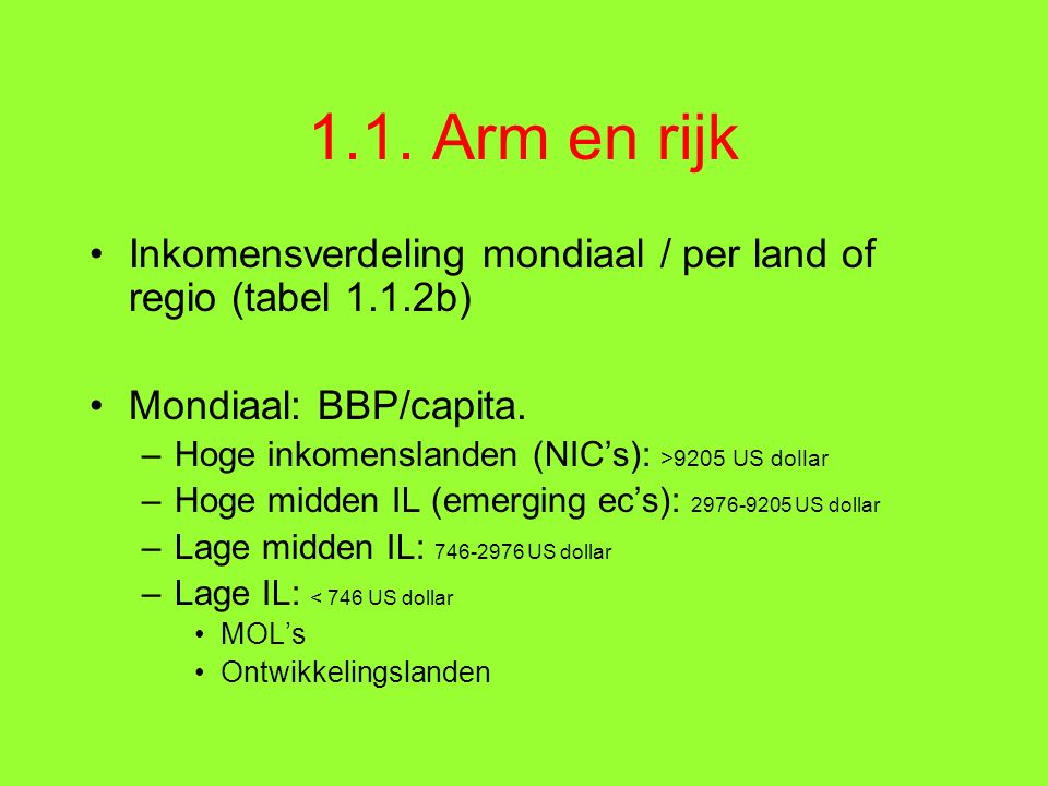 1.1. Arm en rijk Inkomensverdeling mondiaal / per land of regio (tabel 1.1.2b) Mondiaal: BBP/capita.