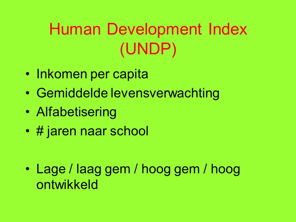 Human Development Index (UNDP)
