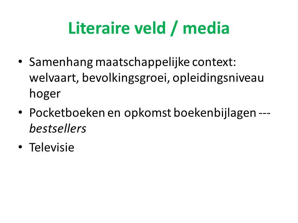 Literaire veld / media Samenhang maatschappelijke context: welvaart, bevolkingsgroei, opleidingsniveau hoger.