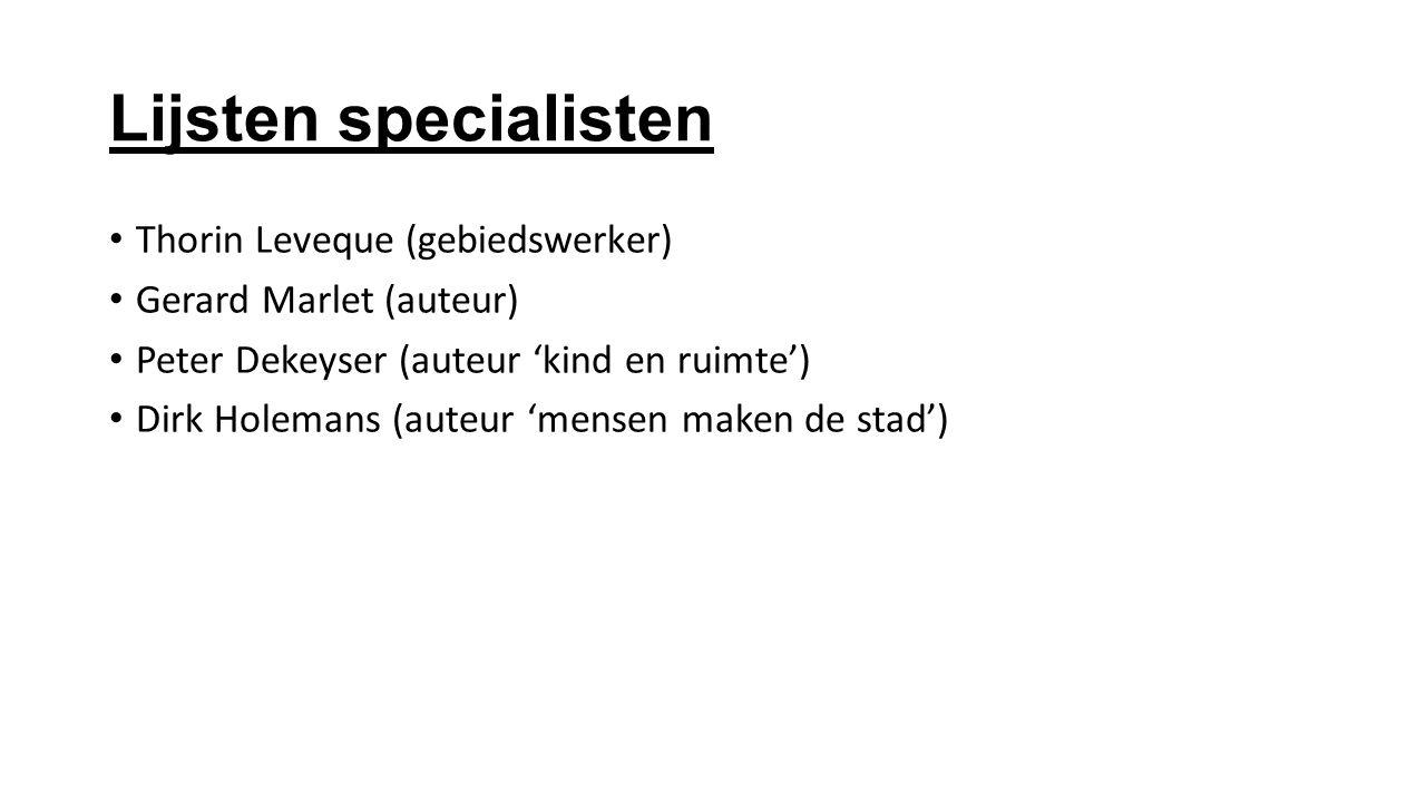 Lijsten specialisten Thorin Leveque (gebiedswerker)
