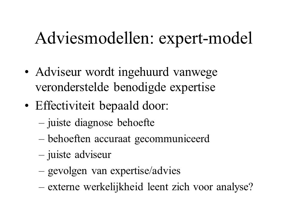 Adviesmodellen: expert-model