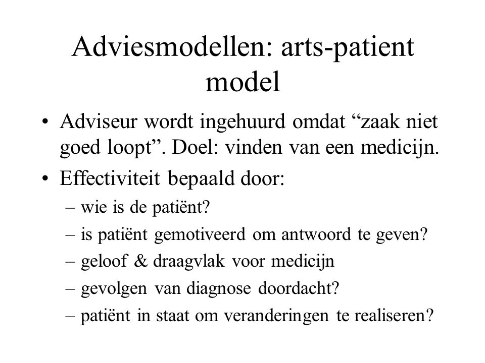 Adviesmodellen: arts-patient model