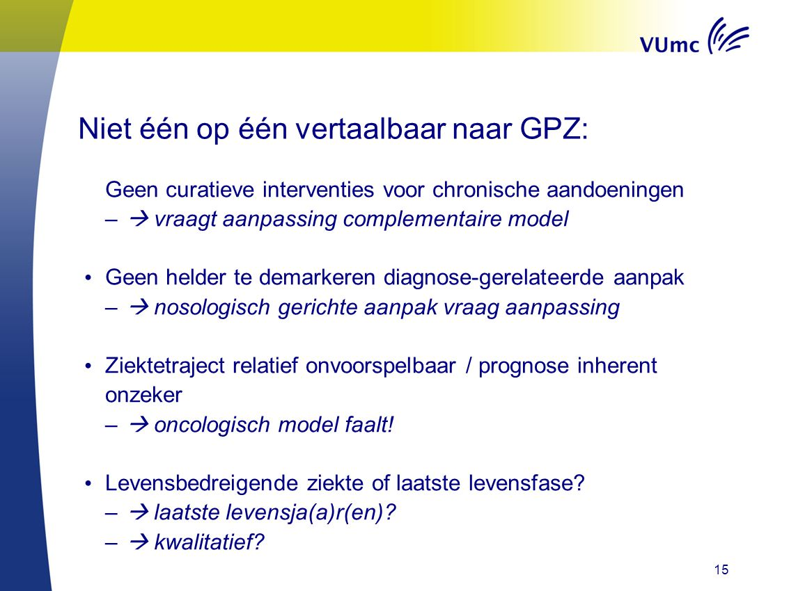 Niet één op één vertaalbaar naar GPZ: