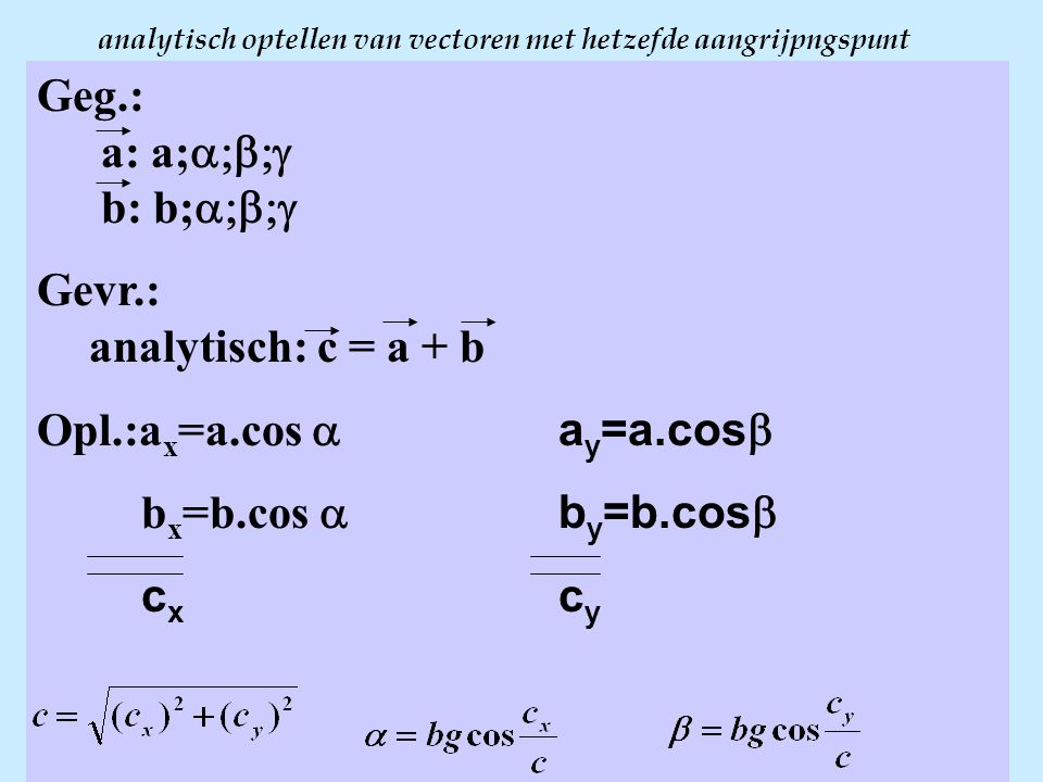 analytisch optellen van vectoren met hetzefde aangrijpngspunt