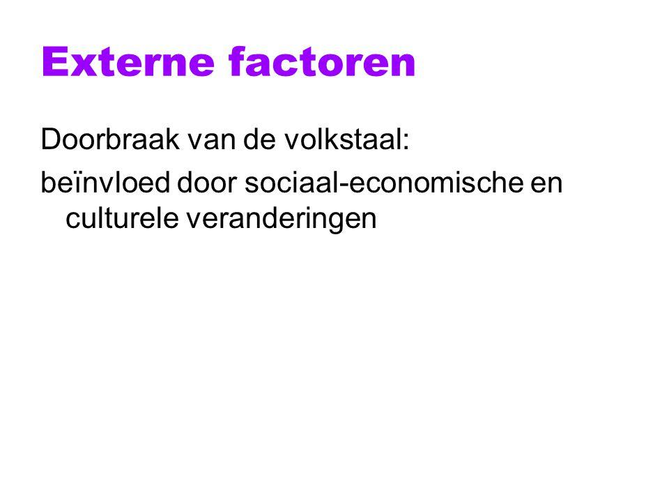 Externe factoren Doorbraak van de volkstaal: