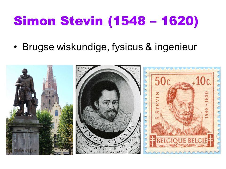 Simon Stevin (1548 – 1620) Brugse wiskundige, fysicus & ingenieur