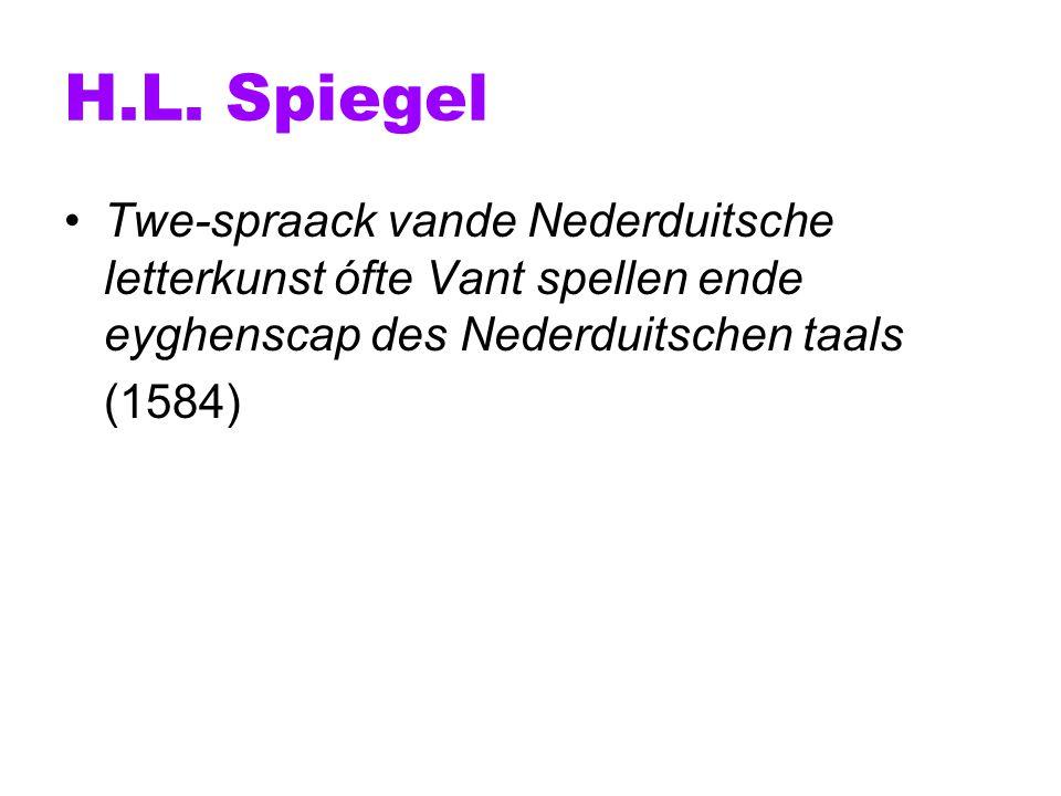 H.L. Spiegel Twe-spraack vande Nederduitsche letterkunst ófte Vant spellen ende eyghenscap des Nederduitschen taals.
