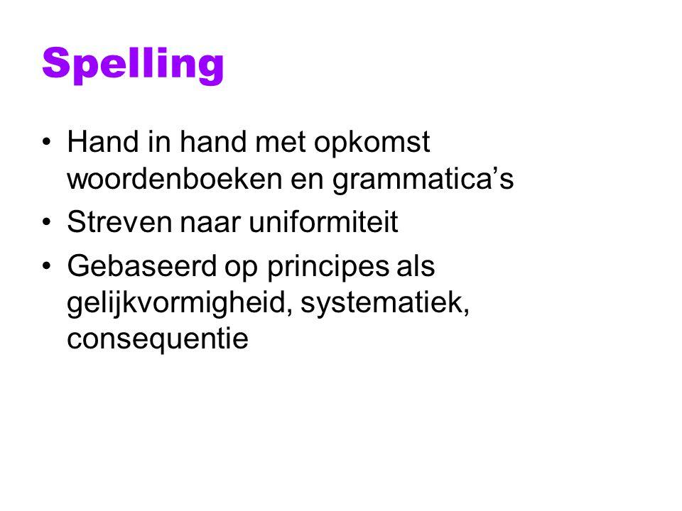 Spelling Hand in hand met opkomst woordenboeken en grammatica's