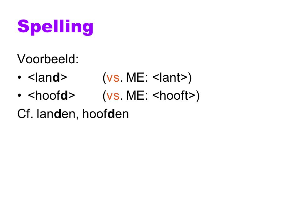 Spelling Voorbeeld: <land> (vs. ME: <lant>)
