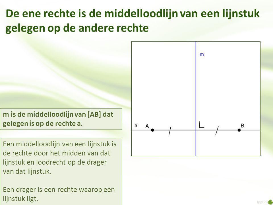 De ene rechte is de middelloodlijn van een lijnstuk gelegen op de andere rechte