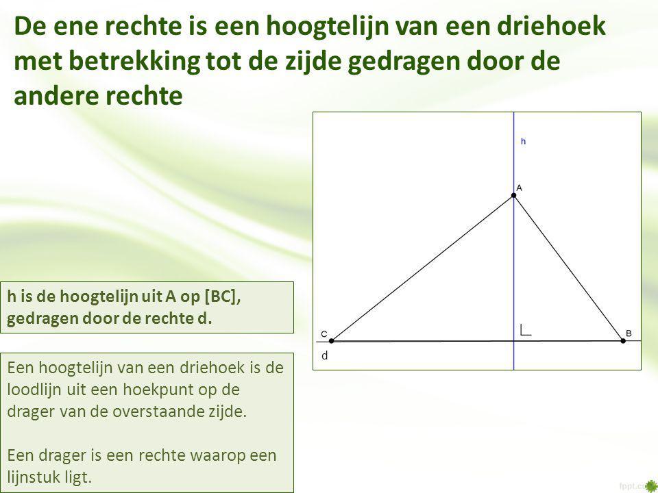 De ene rechte is een hoogtelijn van een driehoek met betrekking tot de zijde gedragen door de andere rechte