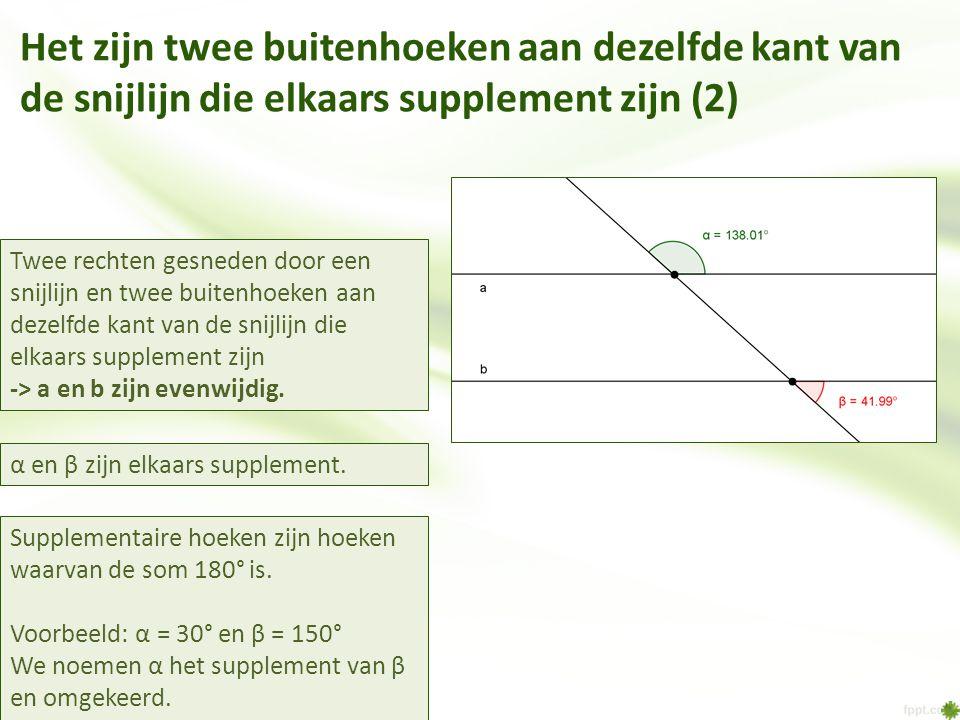 Het zijn twee buitenhoeken aan dezelfde kant van de snijlijn die elkaars supplement zijn (2)
