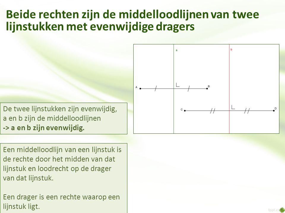 Beide rechten zijn de middelloodlijnen van twee lijnstukken met evenwijdige dragers
