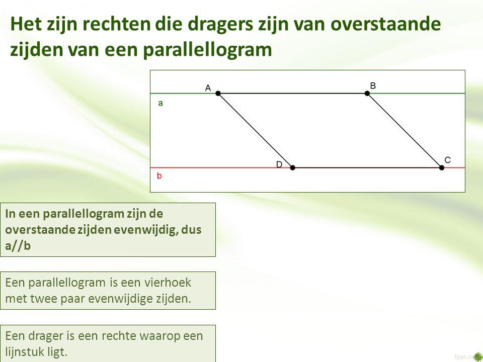 Het zijn rechten die dragers zijn van overstaande zijden van een parallellogram