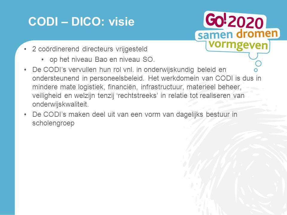 CODI – DICO: visie 2 coördinerend directeurs vrijgesteld