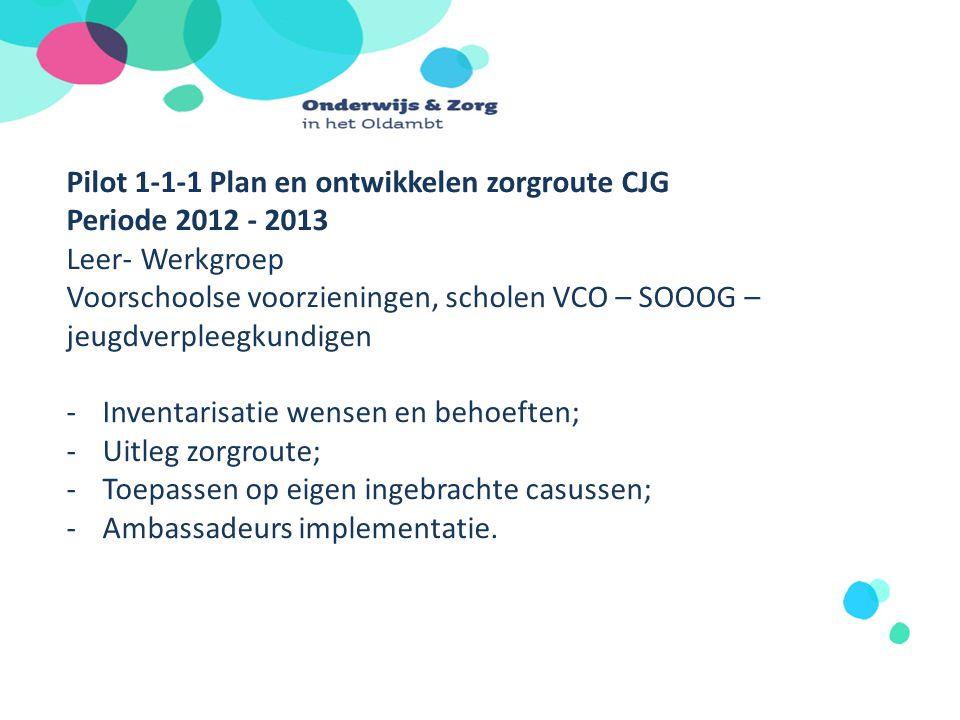 Pilot 1-1-1 Plan en ontwikkelen zorgroute CJG