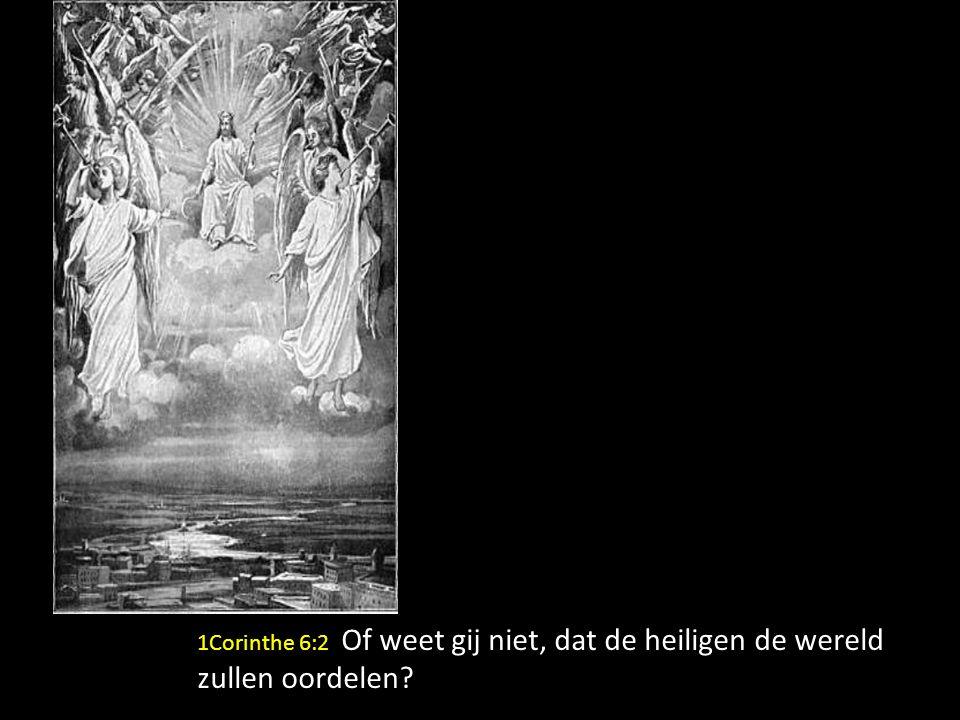 1Corinthe 6:2 Of weet gij niet, dat de heiligen de wereld zullen oordelen