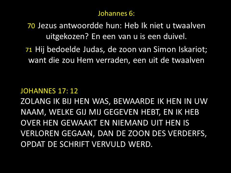 Johannes 6: 70 Jezus antwoordde hun: Heb Ik niet u twaalven uitgekozen En een van u is een duivel.