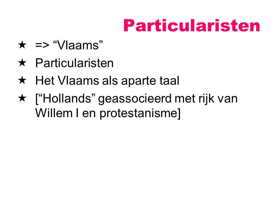 Particularisten => Vlaams Particularisten