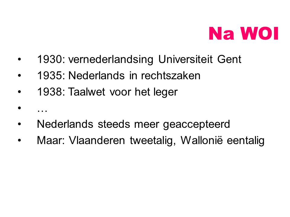 Na WOI 1930: vernederlandsing Universiteit Gent