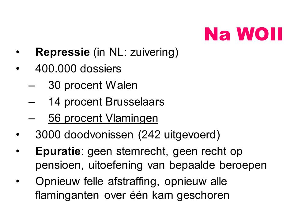 Na WOII Repressie (in NL: zuivering) 400.000 dossiers 30 procent Walen