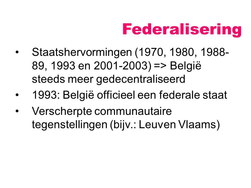 Federalisering Staatshervormingen (1970, 1980, 1988-89, 1993 en 2001-2003) => België steeds meer gedecentraliseerd.