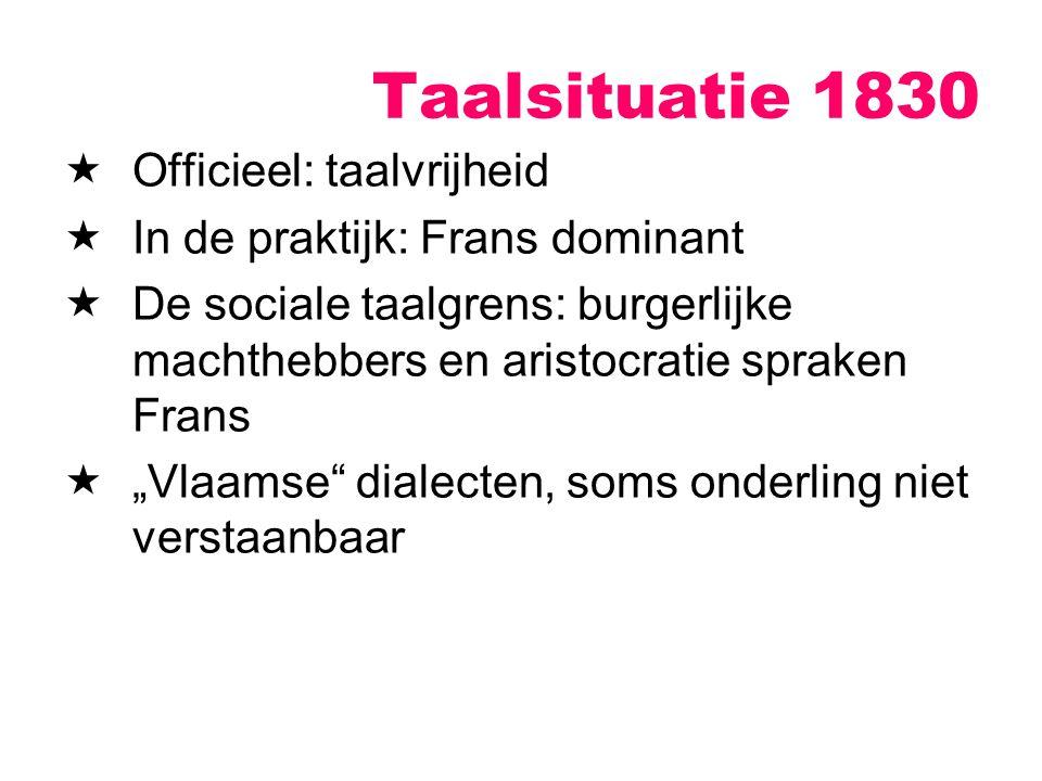 Taalsituatie 1830 Officieel: taalvrijheid